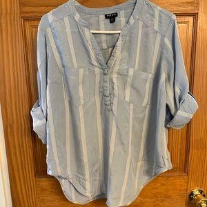Torrid Blue Harper Blouse Size 00 or LARGE